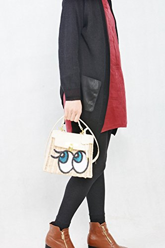 Sequins Body Yellow Bags Womens Japanese Fashion Beach Handbags Cross Embroidered Bags Shoulder Rattan Straw Bag xwYUPq4w