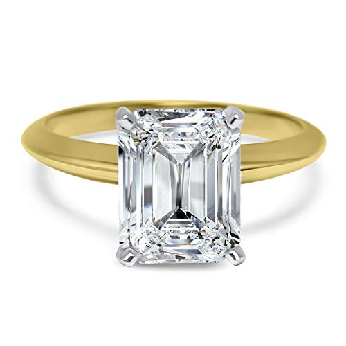 2 carat Forever ONE colorless emerald cut solitaire moissanite engagement ring 14k Yellow Gold