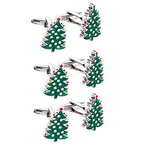 "3 Pairs Men Christmas Tree Crystal Shirts Cuff Links Cufflinks Cute DР""Вcor ()"