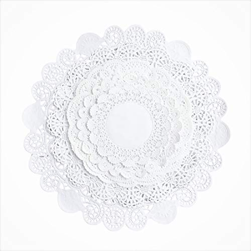 - Round paper Lace Table Doilies - 4,5,6,8, 10 inch Assorted Sizes with Different patterns; White Decorative Tableware papers Placemats, Beautiful Assortment (Variety pack of 100 - 20 of each)