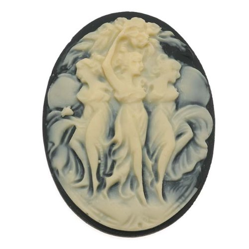 (Beadaholique Vintage Style Lucite Oval Cameo Black with Three Dancers 40x30mm (1))