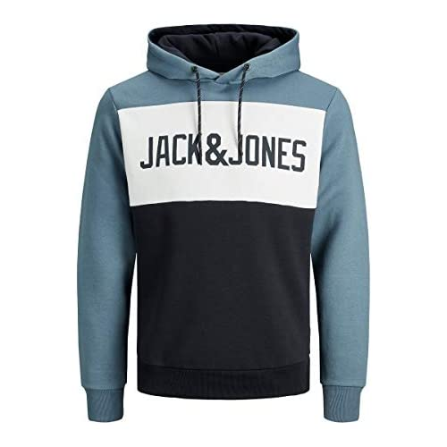 chollos oferta descuentos barato JACK JONES JJELOGO Blocking Sweat Hood STS Sudadera con capucha Azul China Blue L para Hombre