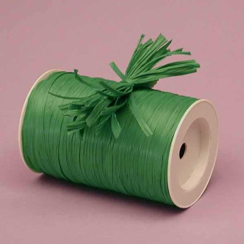 Emerald Green Matte Raffia Ribbon, 1/4