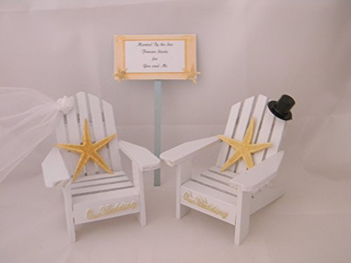 Wedding Reception Adirondack Chairs Beach Sign Starfish Cake Topper (Beach Themed Cake Toppers)