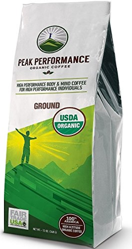 Peak Performance High Altitude Organic Coffee. No Pesticides, Fair Trade, GMO Free, And Beans Full Of Antioxidants! USDA Certified Organic Ground Coffee