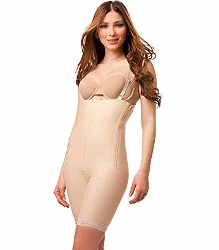 Isavela Bodysuit Suspenders Above Knee Compression Garment W/Zipper MD Beige