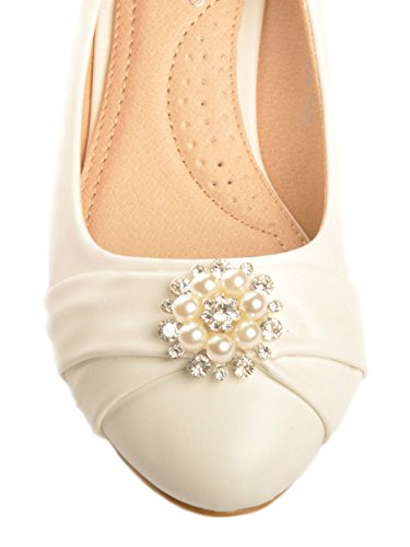 Off White Pearl Diamante Brooche Low Wedge Bridal Wedding Heels nc6lPcra