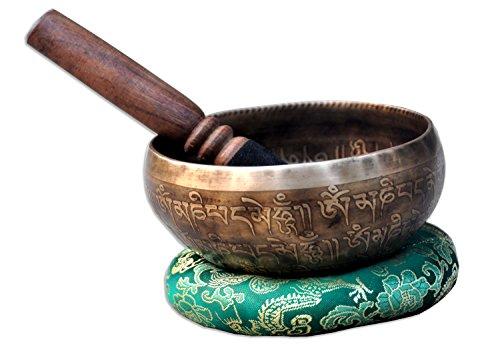 "5"" Mantra Carved Buddha Tibetan Singing Bowl, Hand Hammered Nepal Yoga Singing Bowls with Cushion & Mallet Striker"