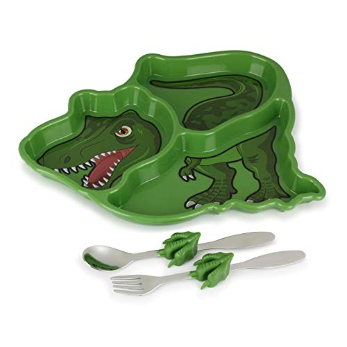 KidsFunwares Me Time Meal Set (T-Rex) - 3-Piece Set for Kids and Toddlers - Plate, Fork and Spoon that Children Love - Sparks your Child's Imagination and Teaches Portion Control - Dishwasher Safe]()