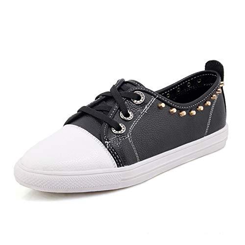Mujer tacón Blanco Remache Zapatos Zapatos Primavera de y para Verano Plano de Deporte Zapatillas Rojo Zapatos Caminar ZHZNVX Poliuretano Negro de Redondo PU Black de con TEFRAqcwB