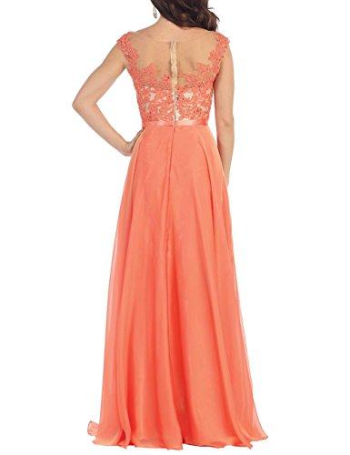 Blume Bodenlänge Orange mit Abendkleid Rüschen Erosebridal Chiffon XBqZxZU