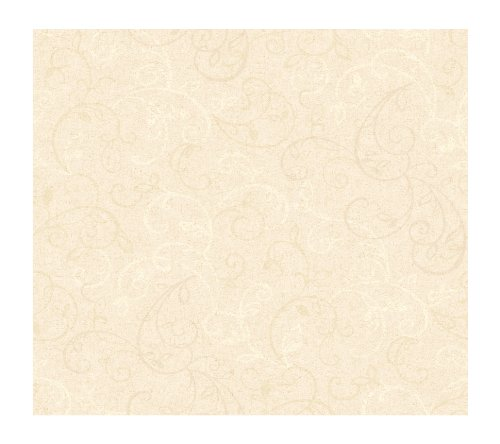 Ivory Leaf Scroll Wallpaper - York Wallcoverings Painted Garden Graphic Scroll Leaf Prepasted Removable Wallpaper, Antique Ivory/Off White
