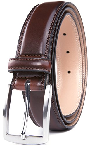 Men's Belt, Classic and Fashion Designs for Work Business and Casual, Regular Big & Tall Sizes Handmade Genuine Leather, Black White Brown Wine Navy Tan (54, Mahogany)