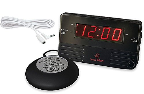 Sonic Alert Loud Dual Alarm Clock SB200ssb with Vibrating Shake and Additioanl 15 Foot Vibrator Extention Cord
