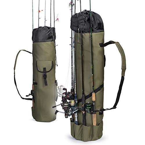 Besti Fishing Rod Organizer Bag (Portable) Shoulder Carry Home and Travel Storage | Professional Reel, Tackle, and Equipment Organization | Heavy-Duty, Water-Resistant
