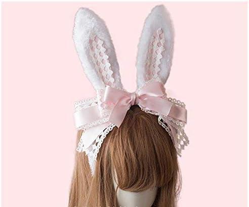 Lolita Gothic Rose Headband Rabbit Ears KC Lace Yarn Hair  Headpieces Girl Gift
