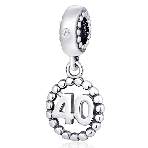 - Number Bracelet Charms - 925 Sterling Silver Pendants/Beads Fit Pandora Charm Bracelets, Necklace, and European Snake Chain, Dangling/Dangle Charm for Birthday (Number 40)