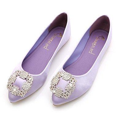 Cómodo y elegante soporte de zapatos de las mujeres pisos comodidad seda de primavera verano otoño Casual negro azul rosa y morado de cristal de soporte de talón gris beige Walking negro