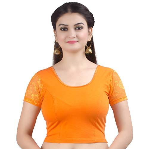 Chandrakala Women's Stretchable Readymade Lycra Orange Indian Ethnic Saree Blouse Crop Top Choli-Medium (B102ORA3)
