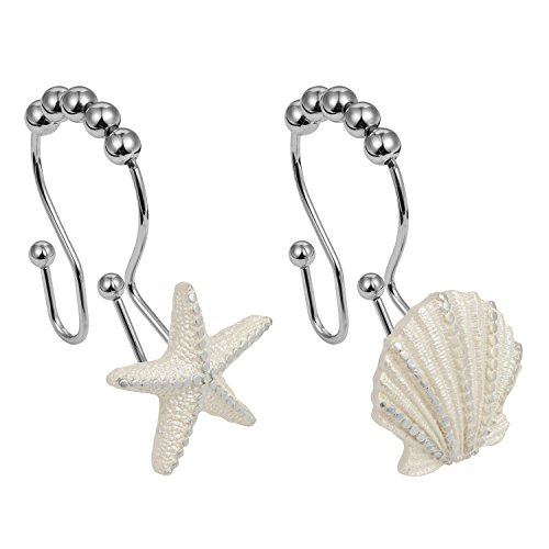 Cyrra Stainless Steel Rust Resistant Double Hooks Glide Shower Ring Hangs For Both Shower Curtain and Liner 12-Pack (starfish and shell double hook) by Cyrra