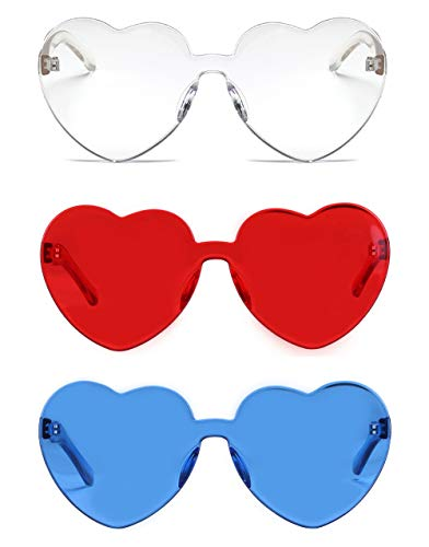 One Piece Heart Shaped Rimless Sunglasses Transparent Candy Color Eyewear(3 Pack)
