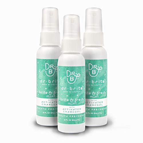 Dr. Brite Breath Freshener Mouth Spray with Mint and Activated Coconut Charcoal (2 Fl Oz) (Pack of 3)