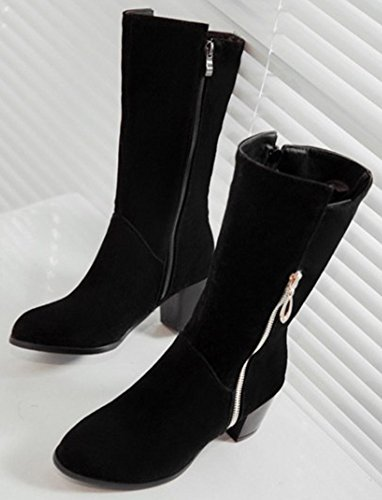 Easemax Women's Elegant Zip Up Chunky Mid Heel Round Toe Mid Calf Faux Suede Boots Black bSfvCNMB