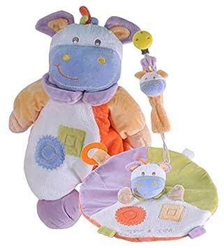 Tris & Ton Pack regalo recién nacido peluche doudou cinta chupete cesta original niño niña (trisyton) (Hippo)