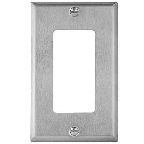 Enerlites 7731-STICKERED 1 Gang Stainless Steel Wall Plate for Decorator Switch, Outlet, GFCI Device (Plate Switch Wall Gfci)