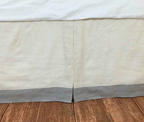 Tailored bed skirt with stone grey border, Borded Bed Skirt, Twin Queen King California King Bed Skirt, HANDMADE, FREE SHIPPING
