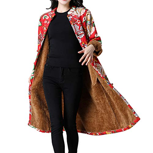 Lowpricenice DaySeventh Women Folk-Custom Print Velvet Cotton Outwear Warm Long Thick Coat Jacket Parka