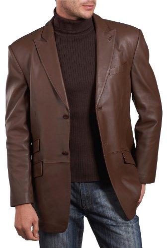 BGSD Men's Noah 2-Button Lambskin Leather Blazer,Espresso,X-Large