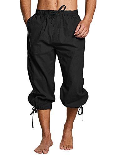 Tenkilo Mens Renaissance Pirate Costume Medieval Pants Viking Cosplay Knicker Knee Length Cotton Linen Shorts (X-Large, C-Black)