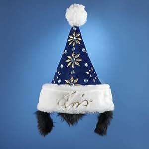 """Elvis Presley Blue Santa Hat With Sideburns 16"""""""