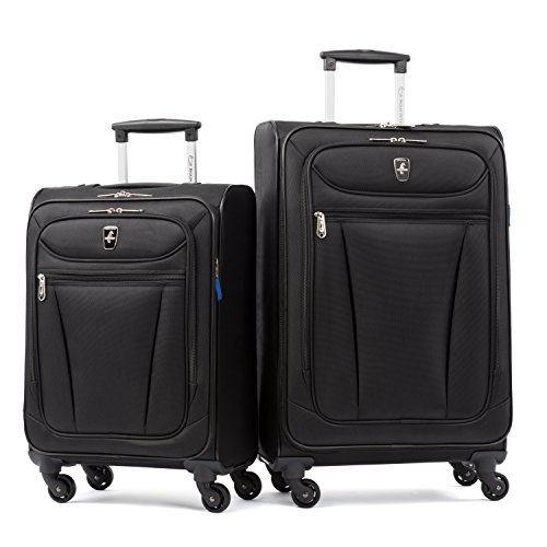 Atlantic Luggage Avion Lite 2 Piece Spinner Luggage Set, Black ()