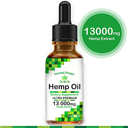 Hemp Oil Extract 13000 mg, All-Natural Drops for Pain, Stress, Anxiety Relief, Deep Restful Sleep