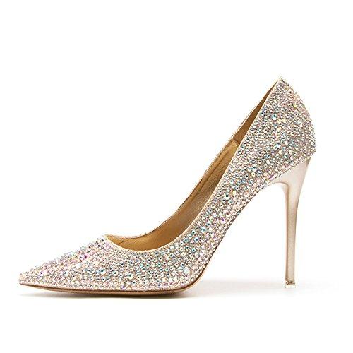 Gold Stiletto 240 Cerradas ZYQME Toe Bombas EU38 Shoes Ladies Wedding Club Poe Womens Heels Sandals High 10CM Shallow Party Sexy 4Y4Aa