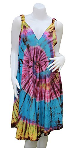 DP Fashion A-Line V-Neck Knot Strap Short Dress fadeless Hand Tie Dye (Sky Blue) (Tie Blue Dye Sky)
