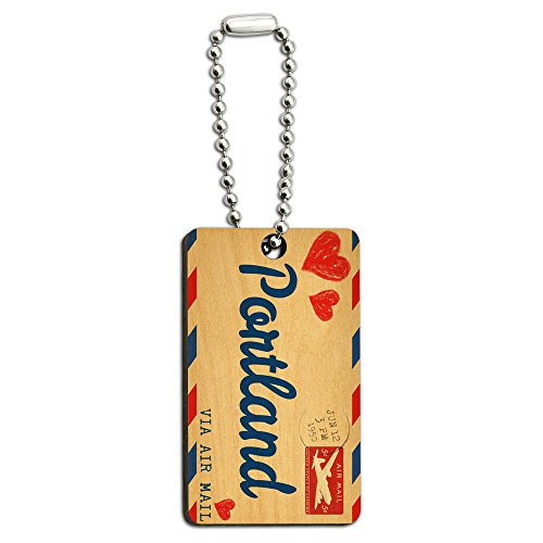 Graphics and More Air Mail Postcard Love for Portland Wood Wooden Rectangle Key - Portland Wood