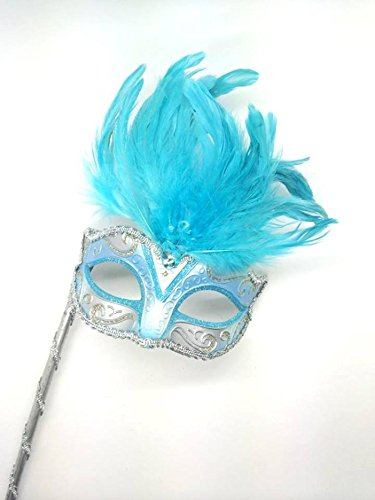 New Mystic Stick Feather Mask Halloween Venetian Masquerade Mask Party Mask (BABY BLUE/SILVER) (Feather Mask Stick)