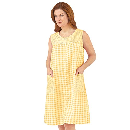 Zip Front Sleeveless Pocket Dress, Yellow, X-Large