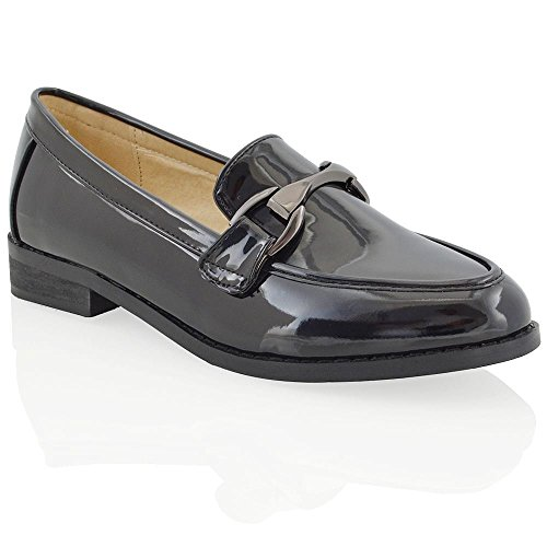 Patent Buckle (ESSEX GLAM Womens Slip On Buckle Black Patent Pumps Moccasin Loafers Shoes 8 B(M) US)
