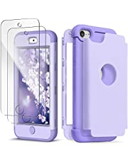 IDWELL iPod Touch Case 7th Generation with 2 Screen Protector, [Three Layer Series] Heavy Duty Protection Shockproof High Impact Protective Cover for Apple iPod Touch 5/6/7th Generation, Purple