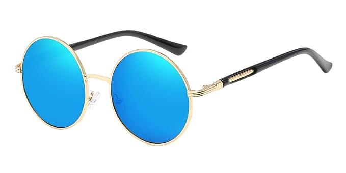 BOZEVON Retro Estilo Círculo Gafas de sol Lente Redonda para las Mujeres Dorado-Azul