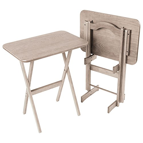 Manchester Wood Large Rectangular Folding TV Tray Table Set of 2 - Driftwood Grey by Manchester Wood: American Made Furniture