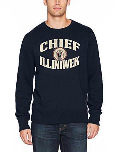 (NCAA Illinois Illini Adult Men NCAA Men's Ots Fleece Crew Distressed, Large, Fall Navy)