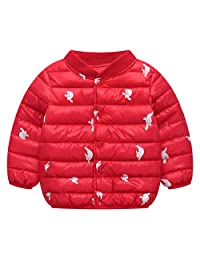 Girls Cotton-padded Outerwear with Front Buttons Lightweight Thicken Quilted Inner Coat Cartoon Style for Autumn Winter Red M
