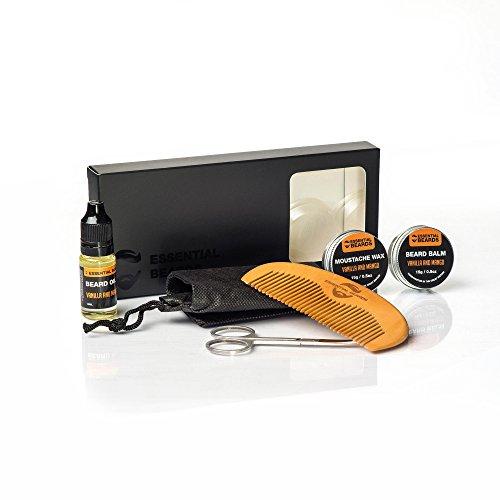 Essential 6 piezas Grooming Kit - vainilla y Mango, barba Bálsamo, aceite, cera, peine 1 A con caja de regalo: Amazon.es: Belleza