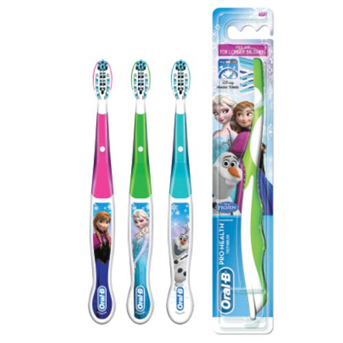 Oral-B Pro-Health Jr. Cross Action Disney Frozen Kids Toothbrush Colors May Vary (pack of 3) (Kids Jr Toothbrush)