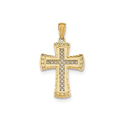 14k Gold Lattice - Roy Rose Jewelry 14K Yellow Gold Polished Lattice Cross w/Satin Edge Diamond-cut Tips Pendant